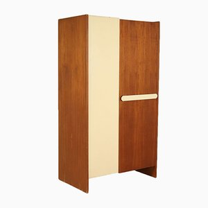 Italian Teak Veneered Wardrobe with Drawers, 1960s