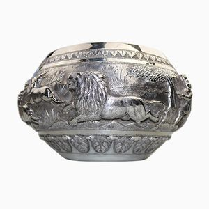 Large Antique Indian Or Burmese Hunting Bowl in Solid Silver