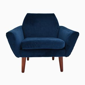 Norwegian Navy Blue Velvet Armchair, 1960s