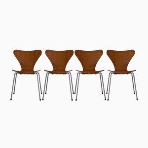 Chaises 3107 Série 7 Vintage en Teck par Arne Jacobsen pour Fritz Hansen, Set de 4