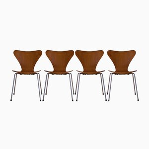 Vintage 3107 Series 7 Chairs in Teak by Arne Jacobsen for Fritz Hansen, Set of 4