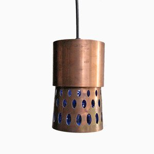 Danish Copper Pendant Lamp with Blue Textured Interior, 1950s