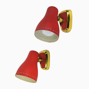 Red Wall Sconces by Lunel, 1960s, Set of 2