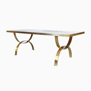 Mid-Century German Coffee Table with Frankfurt Mosaic and Brass, 1950s