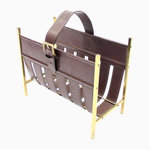 Brass & Leather Magazine Rack by Jacques Adnet, 1960s