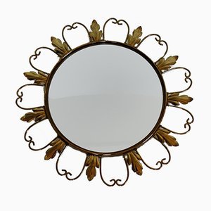 Specchio vintage in ottone a forma di sole, anni '60
