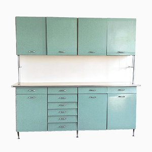 Italian Teal & White Formica Kitchen Cabinet, 1950s
