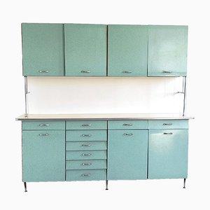 Italienischer Küchenschrank aus blaugrünem & weißem Resolap, 1950er