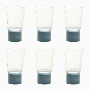 Drinking Glasses with Blue-Grey Bases, Moire Collection, Hand-Blown Glass by Atelier George, Set of 6