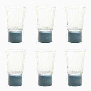 Verres avec Pied Gris-Bleuté, Collection Moire, en Verre Soufflé à la Main par Atelier George, Set de 6