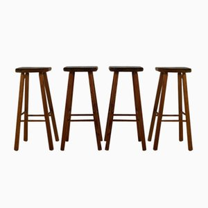 Vintage Dutch Wooden Bar Stools, 1970s, Set of 4