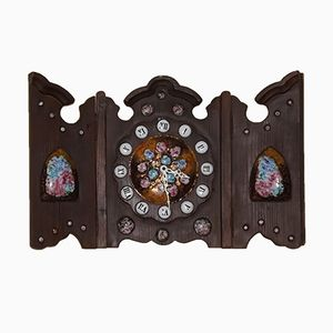 Reloj tríptico de madera, 1970