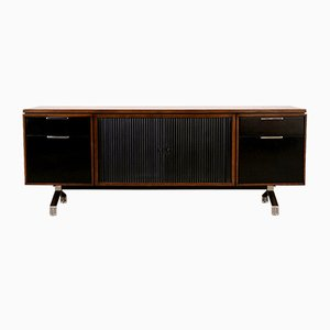 Modern Walnut Credenza with Sliding Tambour Doors, 1960s