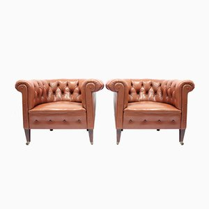 Chesterfield Club Chairs, 1940s, Set of 2
