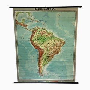 Vintage Schul-Wandkarte von Südamerika von Westermann
