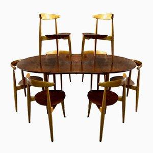 Mesa de comedor con 8 sillas de Hans J. Wegner para Fritz Hansen, años 50