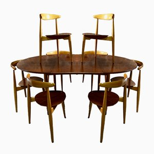 Table et 8 Chaises de Salle à Manger par Hans J. Wegner pour Fritz Hansen, 1950s