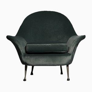 Green Velvet Lounge Chair, 1960s