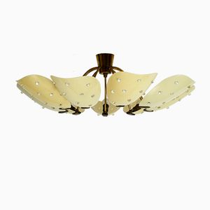 Large 9-Armed Brass Chandelier with Plexiglas Shades, 1950s