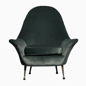 Italian Male Model Green Velvet Lounge Chair, 1960s