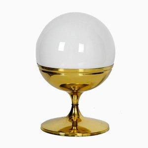 Lámpara de mesa Tulip era espacial grande de latón con esfera de vidrio, años 60