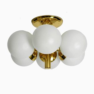Space Age Opaline Glass & Brass Ceiling Lamp from Kaiser Leuchten, 1960s
