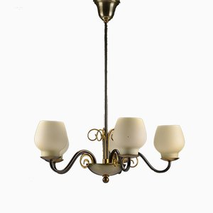 Brass Chandelier with Opaline Glass Shades by Bent Karlby for Lyfa, 1950s