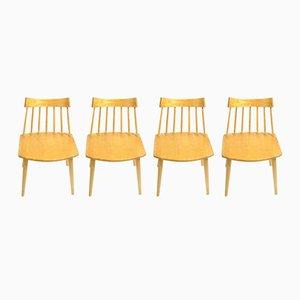 Chaises en Hêtre de Hagafors, Suède, 1960s, Set de 4