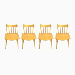 Swedish Beech Chairs from Hagafors, 1960s, Set of 4
