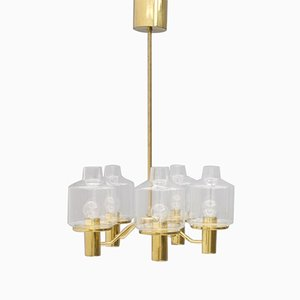 Glass & Brass Chandelier by Hans Agne Jakobsson, 1960s