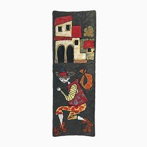 Bandeja decorativa de cerámica de Fernando Rava para Ceramiche Faenza, años 50
