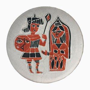 Ceramic Hanging Plate by Ceramica Artistica Torviscosa, 1950s