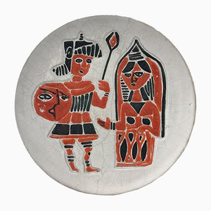 Wandteller aus Keramik von Ceramica Artistica Torviscosa, 1950er