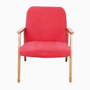 Sedia rossa con gambe a compasso, anni '60