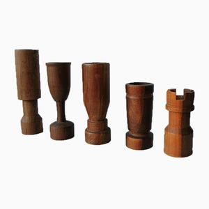 Vintage Wooden Candlesticks, Set of 5