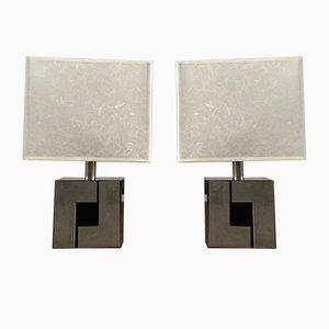 Lampes de Bureau à Pieds Géométriques Noirs et Argentés et Abat-Jours Blancs, 1970s, Set de 2