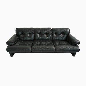 Sofá de tres plazas Coronado vintage de cuero negro de Tobia & Afra Scarpa para B&B Italia / C&B Italia