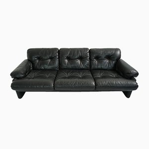 Vintage Black Leather Coronado 3-Seat Sofa by Tobia & Afra Scarpa for B&B Italia / C&B Italia