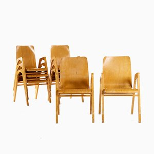 Stackable Armchairs by Axel Larsson for Getama, Set of 8