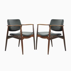 Model 67 Captain Armchairs in Rosewood by Erik Buch for Örum, 1960s, Set of 2