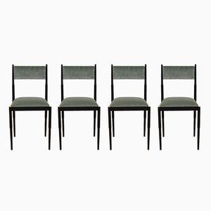 Mid-Century Esszimmerstühle aus schwarzem Metall & türkisfarbenem Samt, 4er Set