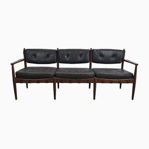Canapé Vintage en Cuir Noir par Eric Merthen pour IRE AB Skillingaryd Möbler