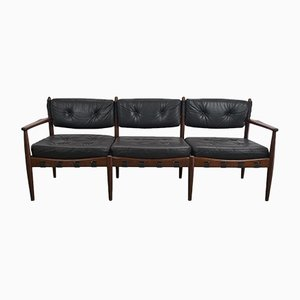 Vintage Black Leather Sofa by Eric Merthen for IRE AB Skillingaryd Möbler