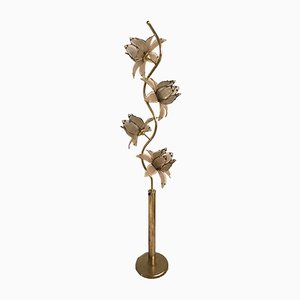 Lampadaire Floral Mid-Century en Verre, Italie