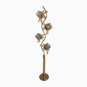 Lámpara de pie italiana Mid-Century con flores de vidrio