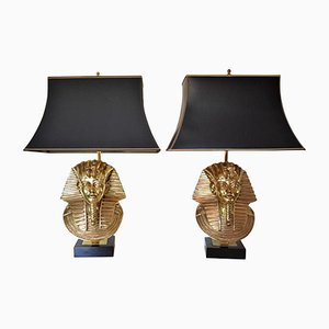 Hollywood Regency Pharaoh Table Lamps by Maison Jansen for Deknudt, 1970s