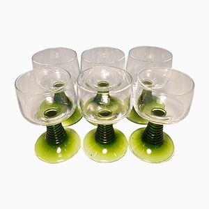 Green Stemmed Wine Glasses from Luminarc, 1970s, Set of 6
