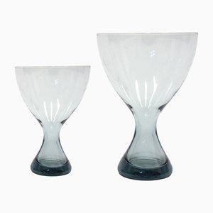 Vasi in vetro blu chiaro di Vicke Lindstrand per Kosta, anni '60, set di 2