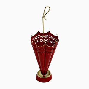 Mid-Century Red Umbrella Stand, 1950s