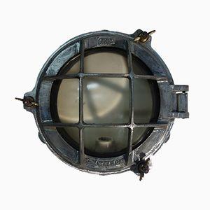 Lampada da paratia industriale in alluminio spazzolato di Gec, anni '50